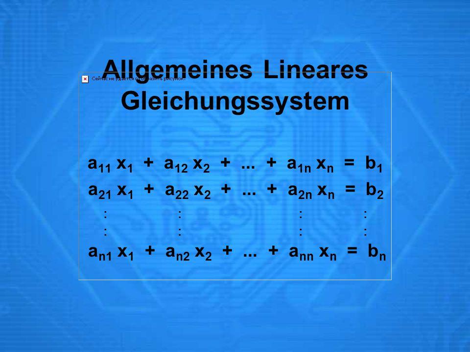 Allgemeines Lineares Gleichungssystem a 11 x 1 + a 12 x 2 +... + a 1n x n = b 1 a 21 x 1 + a 22 x 2 +... + a 2n x n = b 2 : : : : a n1 x 1 + a n2 x 2