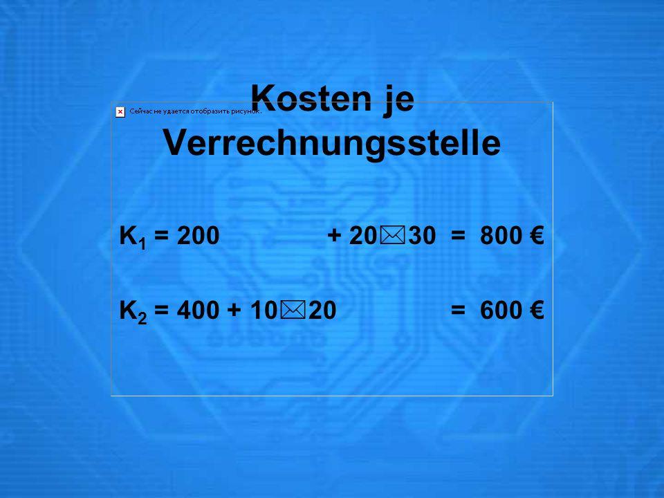 Kosten je Verrechnungsstelle K 1 = 200 + 20  30 = 800 € K 2 = 400 + 10  20 = 600 €