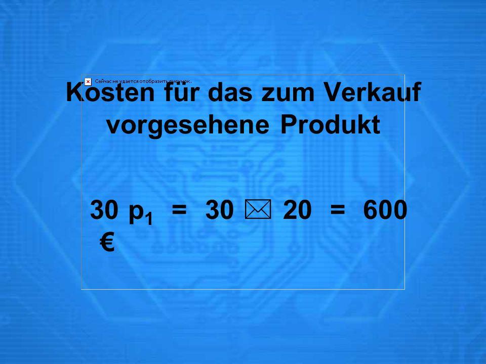 Kosten für das zum Verkauf vorgesehene Produkt 30 p 1 = 30  20 = 600 €