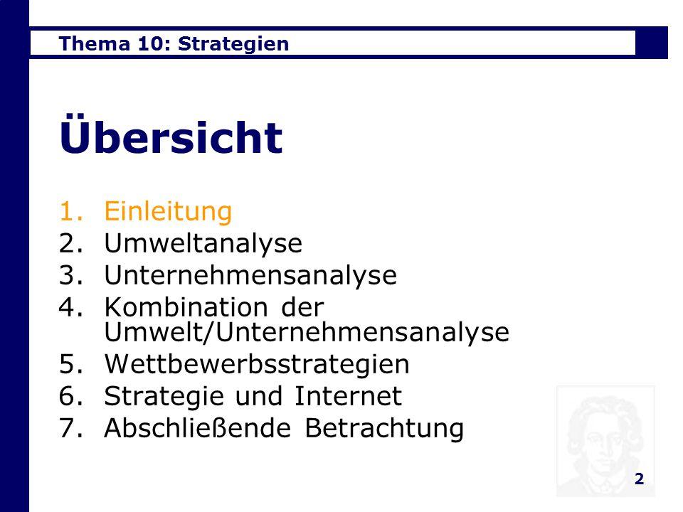 Thema 10: Strategien 2 Übersicht 1.Einleitung 2.Umweltanalyse 3.Unternehmensanalyse 4.Kombination der Umwelt/Unternehmensanalyse 5.Wettbewerbsstrategien 6.Strategie und Internet 7.Abschließende Betrachtung