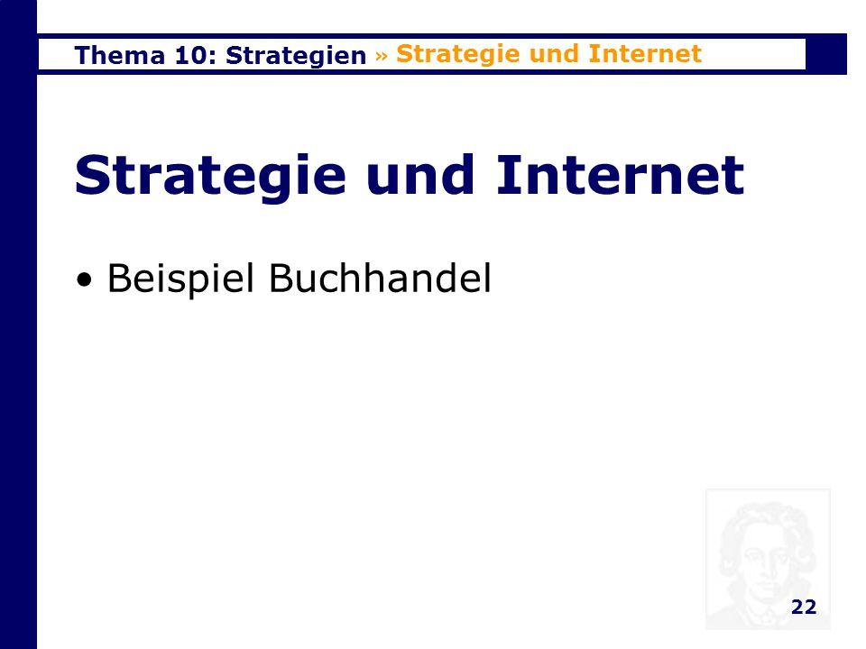 Thema 10: Strategien 23 Veränderte Wettbewerbs- kräfte » Strategie und Internet KundenSubstituteLieferantenRivalitätKonkurrenten 5 4 3 2 1 - vor dem Internet - im Internet-Zeitalter