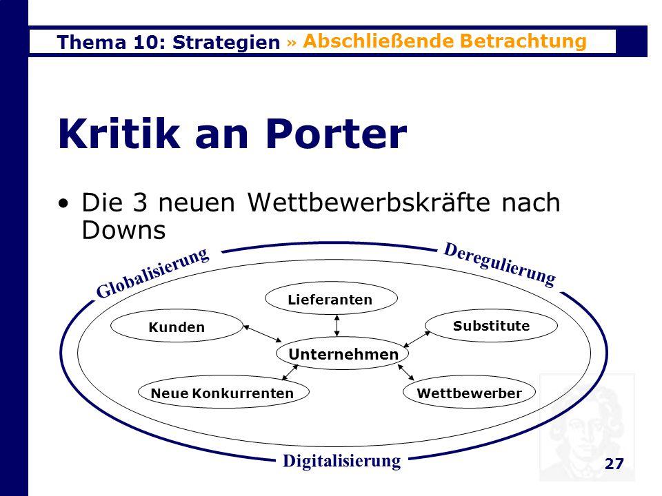 Thema 10: Strategien 27 Kritik an Porter Die 3 neuen Wettbewerbskräfte nach Downs » Abschließende Betrachtung Unternehmen Neue KonkurrentenWettbewerber Kunden Substitute Lieferanten Deregulierung Globalisierung Digitalisierung
