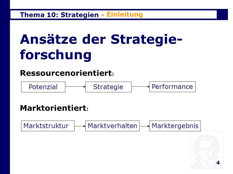 Thema 10: Strategien 4 Ansätze der Strategie- forschung » Einleitung PotenzialStrategie Performance Ressourcenorientiert : MarktstrukturMarktverhaltenMarktergebnis Marktorientiert :