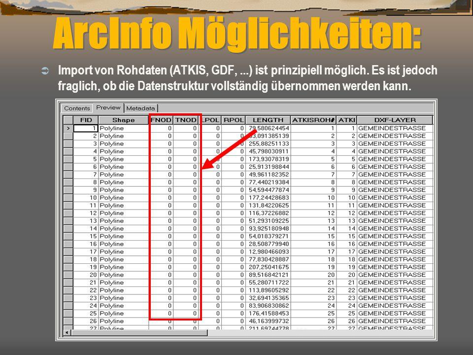 ArcInfo Möglichkeiten:  Import von Rohdaten (ATKIS, GDF,...) ist prinzipiell möglich. Es ist jedoch fraglich, ob die Datenstruktur vollständig überno