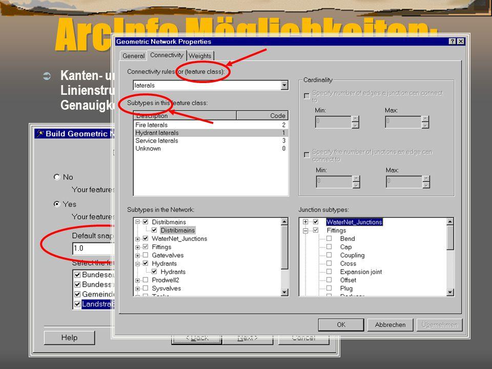 ArcInfo Möglichkeiten:  Kanten- und Knotenbildung ist über Tool möglich, wenn nur die reinen Linienstrukturen importiert werden können (z.B. dxf-Form