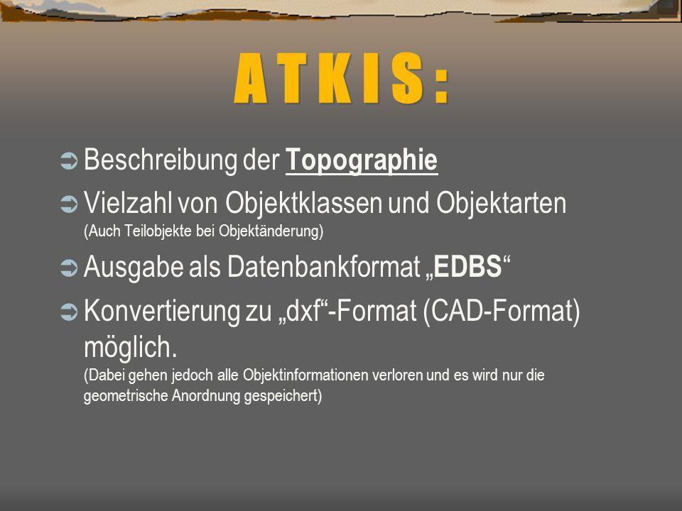 """A T K I S :  Beschreibung der Topographie  Vielzahl von Objektklassen und Objektarten (Auch Teilobjekte bei Objektänderung)  Ausgabe als Datenbankformat """" EDBS  Konvertierung zu """"dxf -Format (CAD-Format) möglich."""