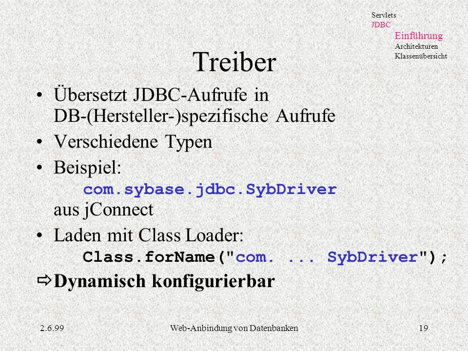 2.6.99Web-Anbindung von Datenbanken19 Treiber Übersetzt JDBC-Aufrufe in DB-(Hersteller-)spezifische Aufrufe Verschiedene Typen Beispiel: com.sybase.jd