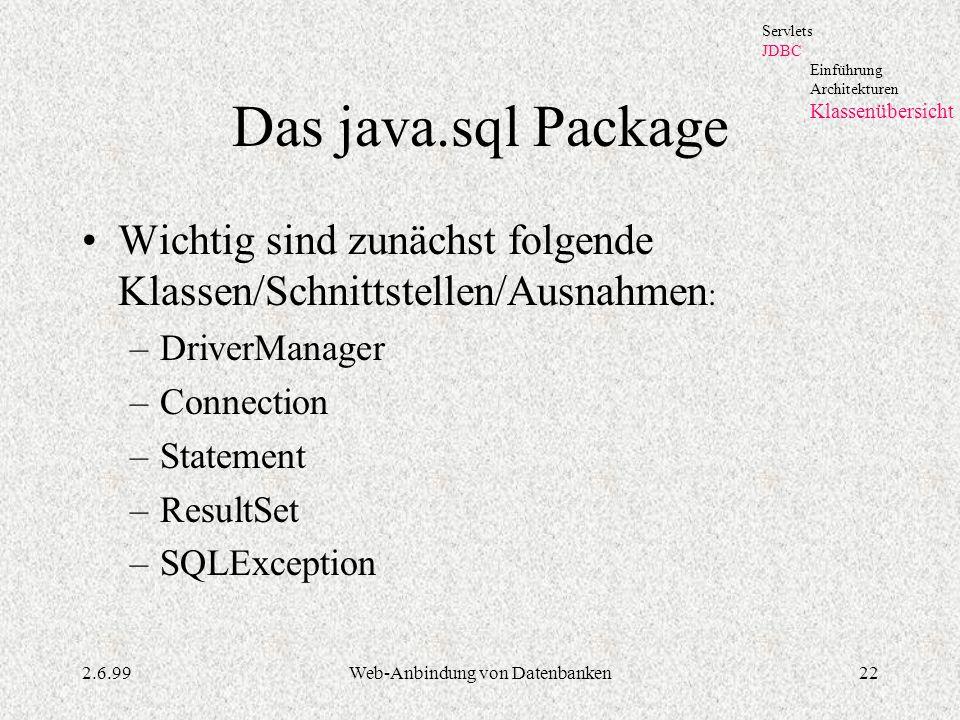 2.6.99Web-Anbindung von Datenbanken22 Das java.sql Package Wichtig sind zunächst folgende Klassen/Schnittstellen/Ausnahmen : –DriverManager –Connectio