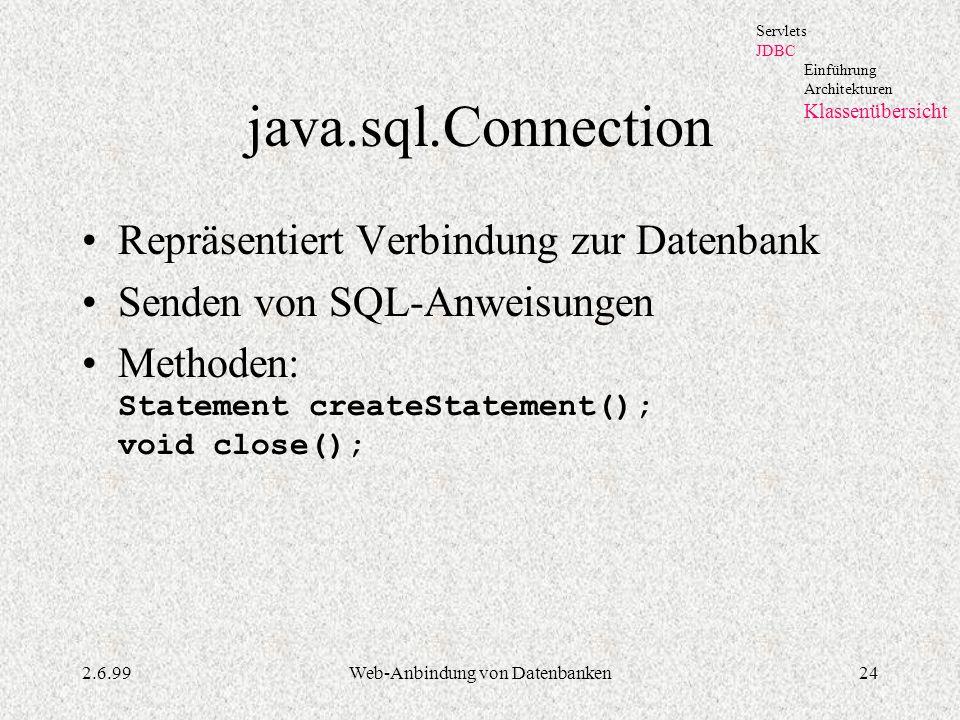 2.6.99Web-Anbindung von Datenbanken24 java.sql.Connection Repräsentiert Verbindung zur Datenbank Senden von SQL-Anweisungen Methoden: Statement create