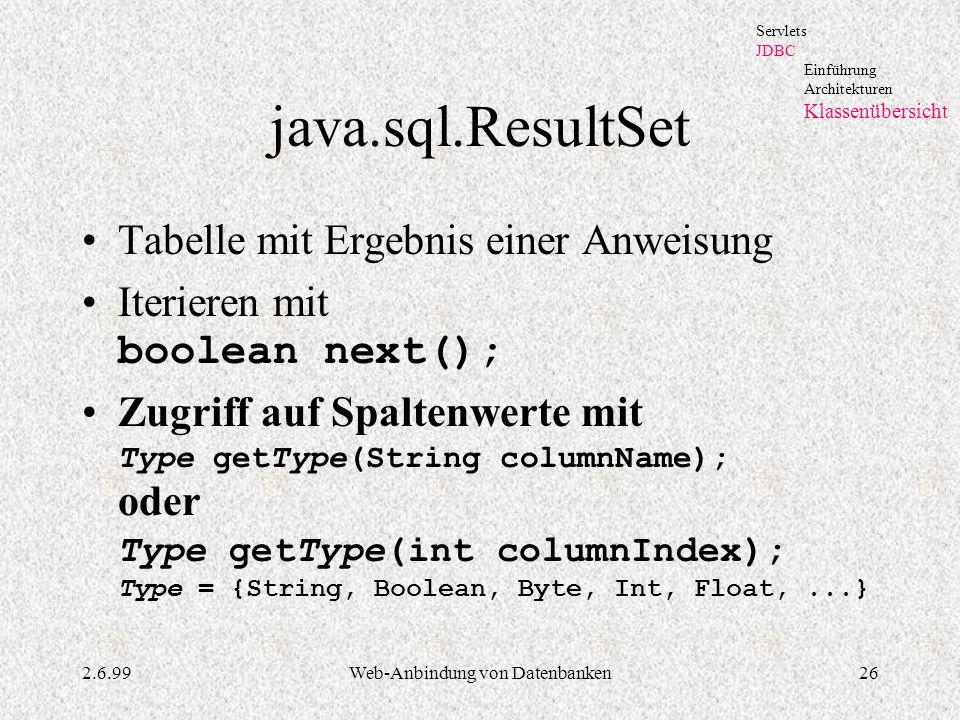 2.6.99Web-Anbindung von Datenbanken26 java.sql.ResultSet Tabelle mit Ergebnis einer Anweisung Iterieren mit boolean next(); Zugriff auf Spaltenwerte m