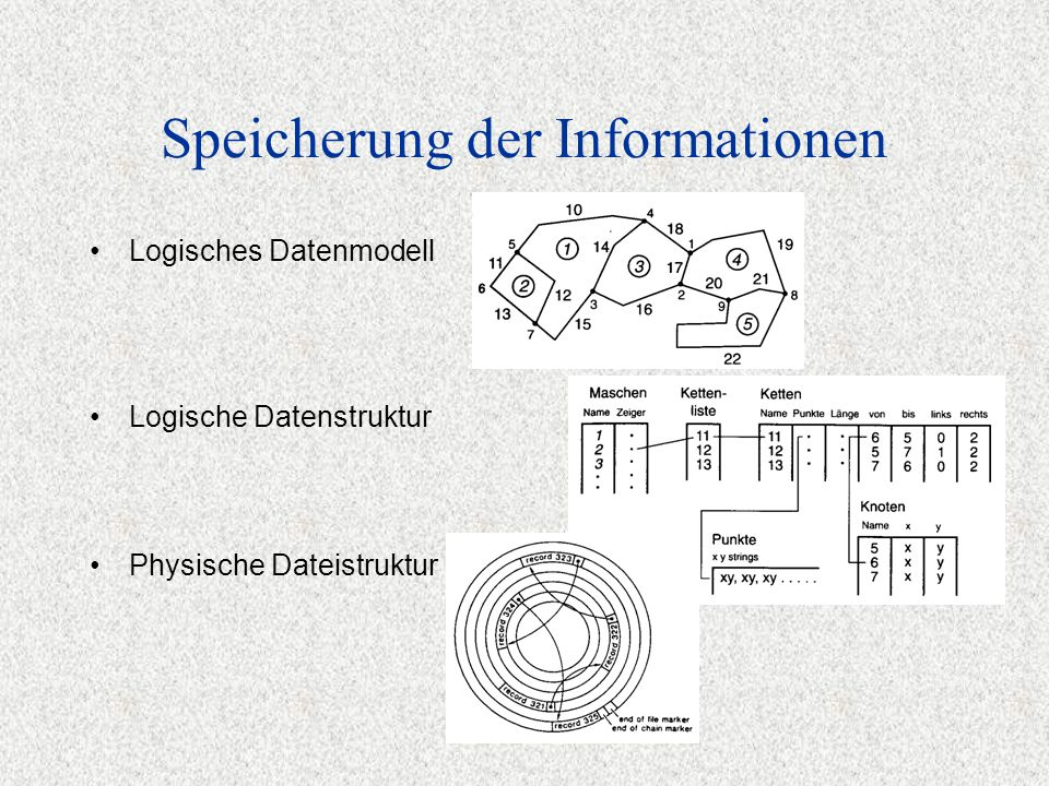 Speicherung der Informationen Logisches Datenmodell Physische Dateistruktur Logische Datenstruktur