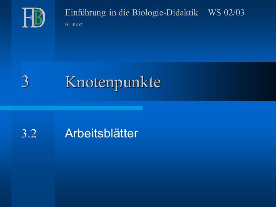 Einführung in die Biologie-Didaktik WS 02/03 B.Durst Knotenpunkte Arbeitsblätter 3 3.2