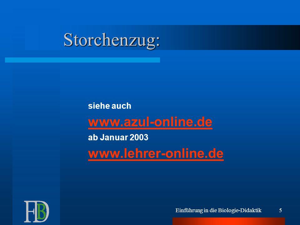 Einführung in die Biologie-Didaktik5 Storchenzug: siehe auch www.azul-online.de ab Januar 2003 www.lehrer-online.de