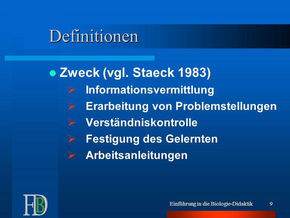 Einführung in die Biologie-Didaktik8 Definitionen Inhalte:  Merkeinträge  Übungsaufgaben  Lückentexte  Skizzen  Zahlenmaterial  Diagramme u.v.a.m.