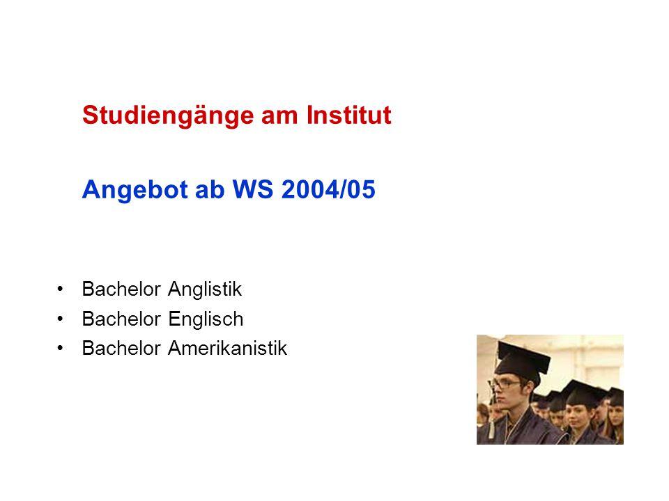 Studiengänge am Institut Angebot ab WS 2004/05 Bachelor Anglistik Bachelor Englisch Bachelor Amerikanistik