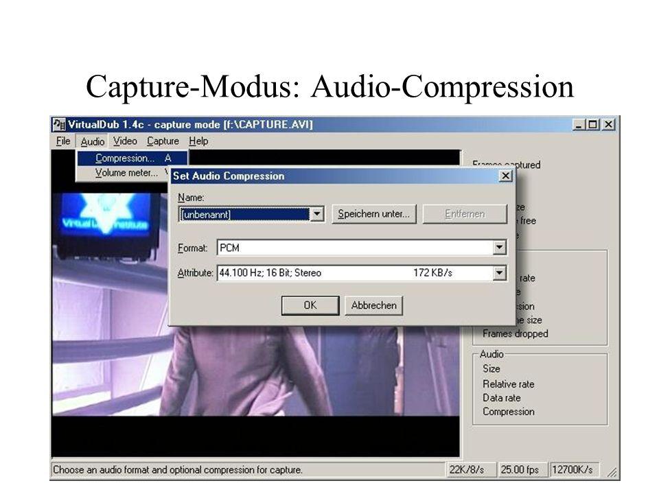 Capture-Modus: Video Aufnahmegerät einstellen