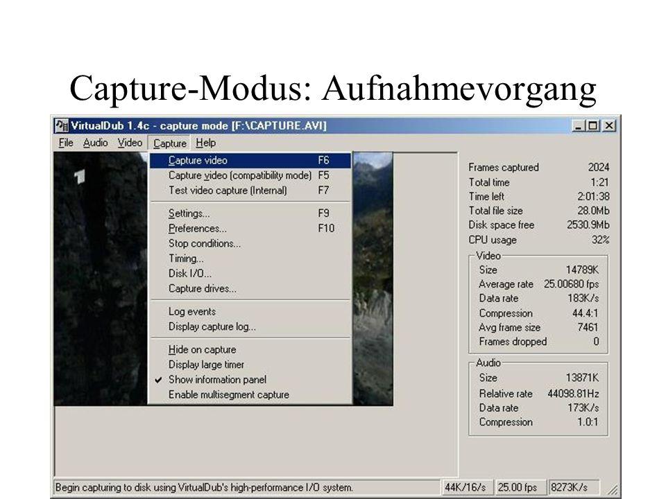 Capture-Modus: Aufnahmevorgang