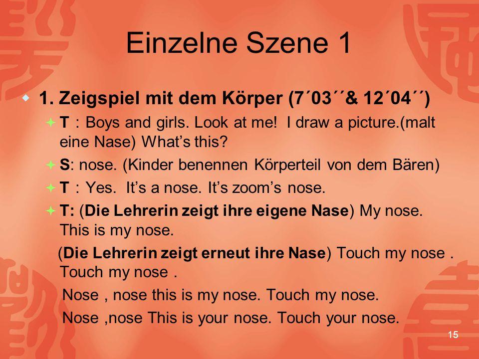 15 Einzelne Szene 1  1.Zeigspiel mit dem Körper (7´03´´& 12´04´´)  T : Boys and girls.