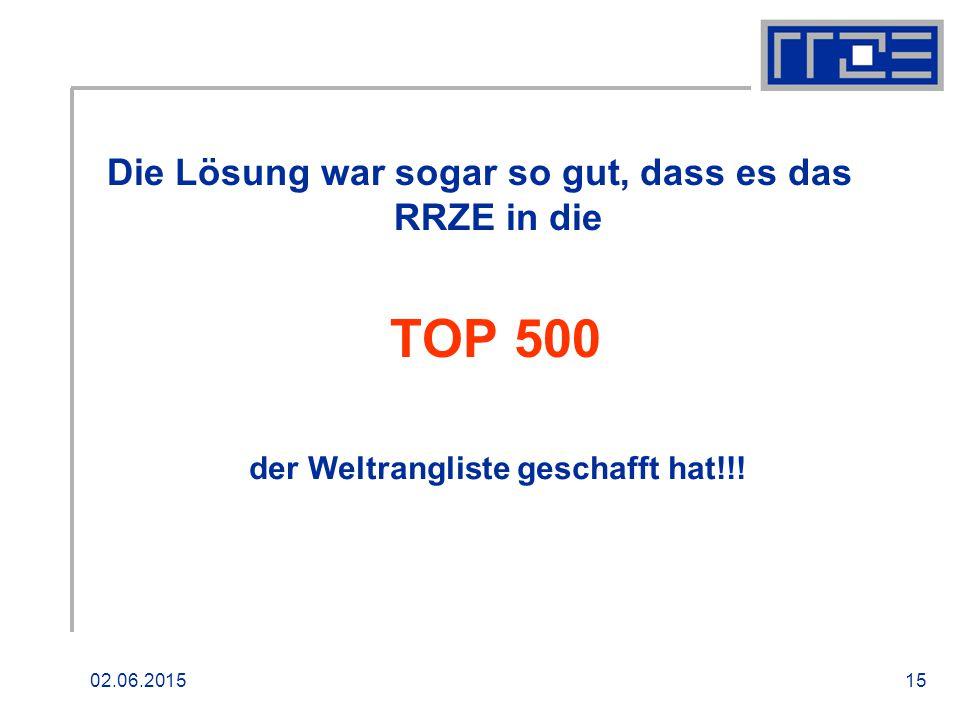02.06.201515 Die Lösung war sogar so gut, dass es das RRZE in die TOP 500 der Weltrangliste geschafft hat!!!