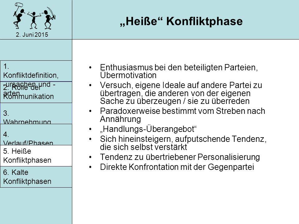 """2. Juni 2015 Merkmale in """"heißen und """"kalten Konfliktphasen"""