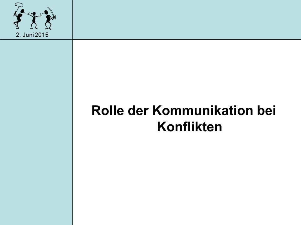 2. Juni 2015 Konfliktarten im Betrieb Zielkonflikt Mittelkonflikt Rollenkonflikt Beziehungskonflikt Verteilungskonflikt Wertkonflikt 3. Wahrnehmung 4.