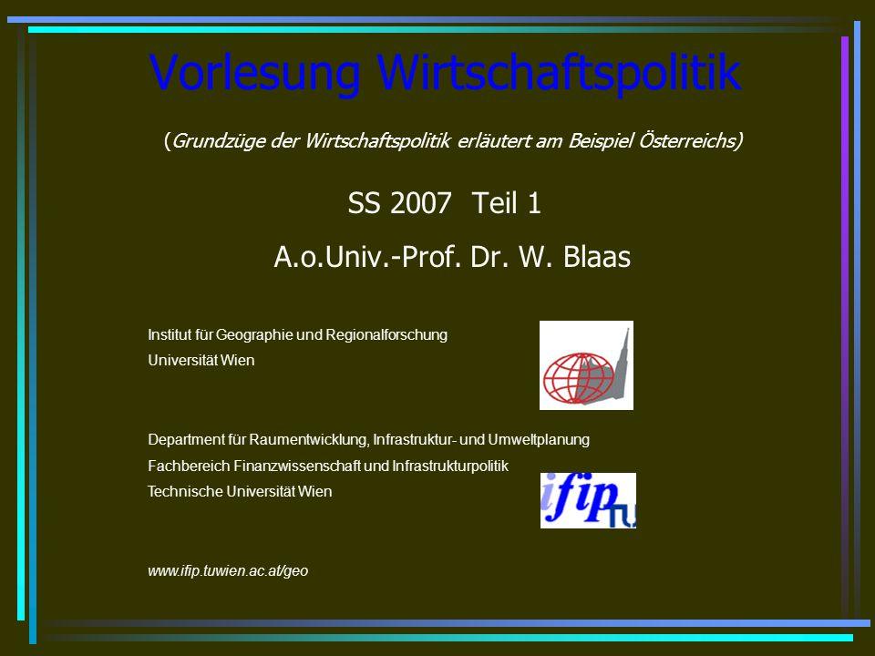 Vorlesung Wirtschaftspolitik © Blaas 2007 42 Ministerielle Aufgabenverteilung Auf Ebene der staatlichen Verwaltung ist jedes Ministerium für die Forschung in seinem Kompetenzbereich zuständig.