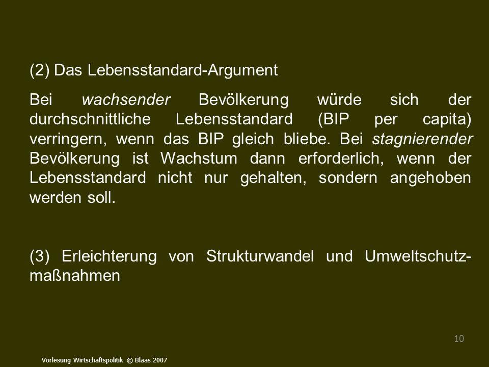 Vorlesung Wirtschaftspolitik © Blaas 2007 10 (2) Das Lebensstandard-Argument Bei wachsender Bevölkerung würde sich der durchschnittliche Lebensstandar