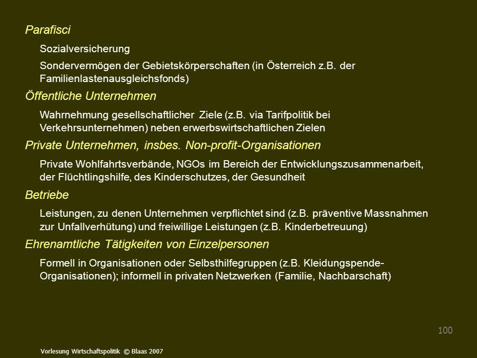 Vorlesung Wirtschaftspolitik © Blaas 2007 100 Parafisci Sozialversicherung Sondervermögen der Gebietskörperschaften (in Österreich z.B. der Familienla