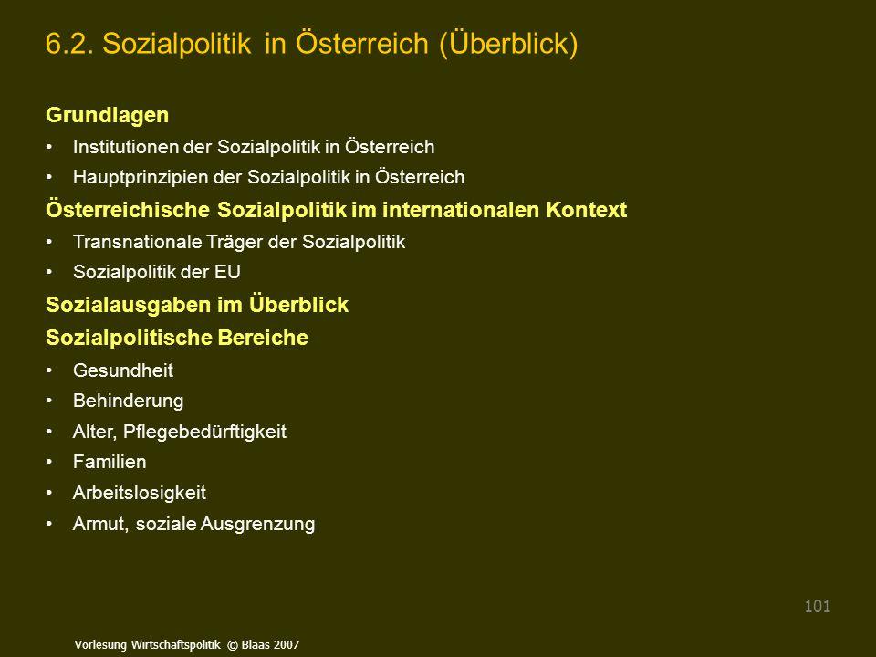 Vorlesung Wirtschaftspolitik © Blaas 2007 101 6.2. Sozialpolitik in Österreich (Überblick) Grundlagen Institutionen der Sozialpolitik in Österreich Ha
