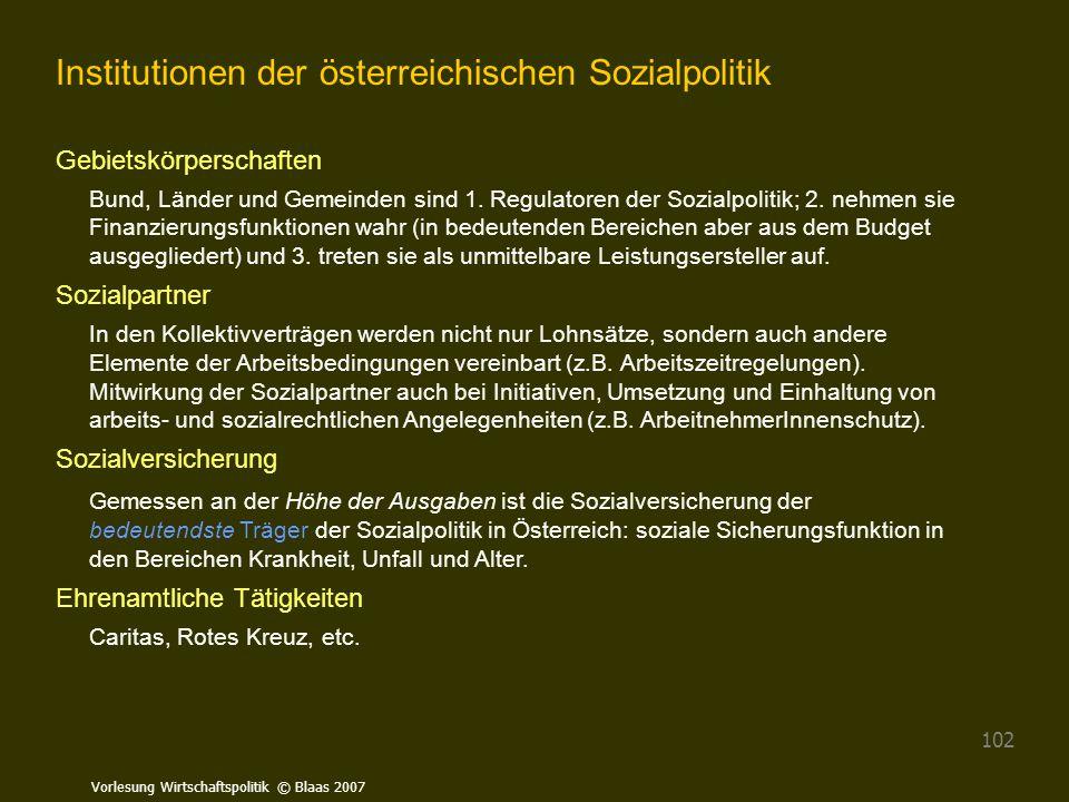 Vorlesung Wirtschaftspolitik © Blaas 2007 102 Institutionen der österreichischen Sozialpolitik Gebietskörperschaften Bund, Länder und Gemeinden sind 1