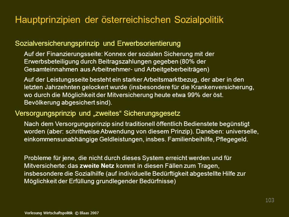 Vorlesung Wirtschaftspolitik © Blaas 2007 103 Hauptprinzipien der österreichischen Sozialpolitik Sozialversicherungsprinzip und Erwerbsorientierung Au