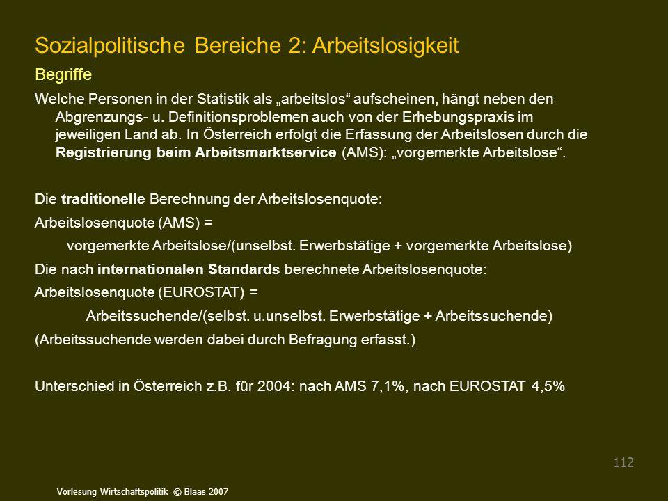 """Vorlesung Wirtschaftspolitik © Blaas 2007 112 Sozialpolitische Bereiche 2: Arbeitslosigkeit Begriffe Welche Personen in der Statistik als """"arbeitslos"""""""