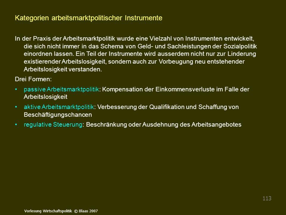 Vorlesung Wirtschaftspolitik © Blaas 2007 113 Kategorien arbeitsmarktpolitischer Instrumente In der Praxis der Arbeitsmarktpolitik wurde eine Vielzahl