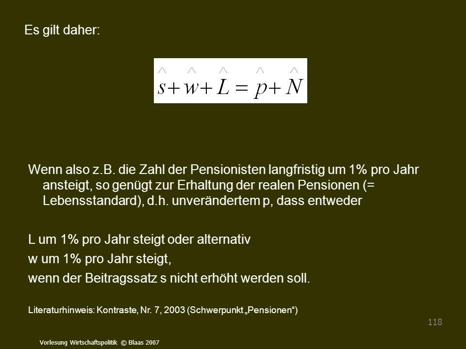 Vorlesung Wirtschaftspolitik © Blaas 2007 118 Es gilt daher: Wenn also z.B. die Zahl der Pensionisten langfristig um 1% pro Jahr ansteigt, so genügt z