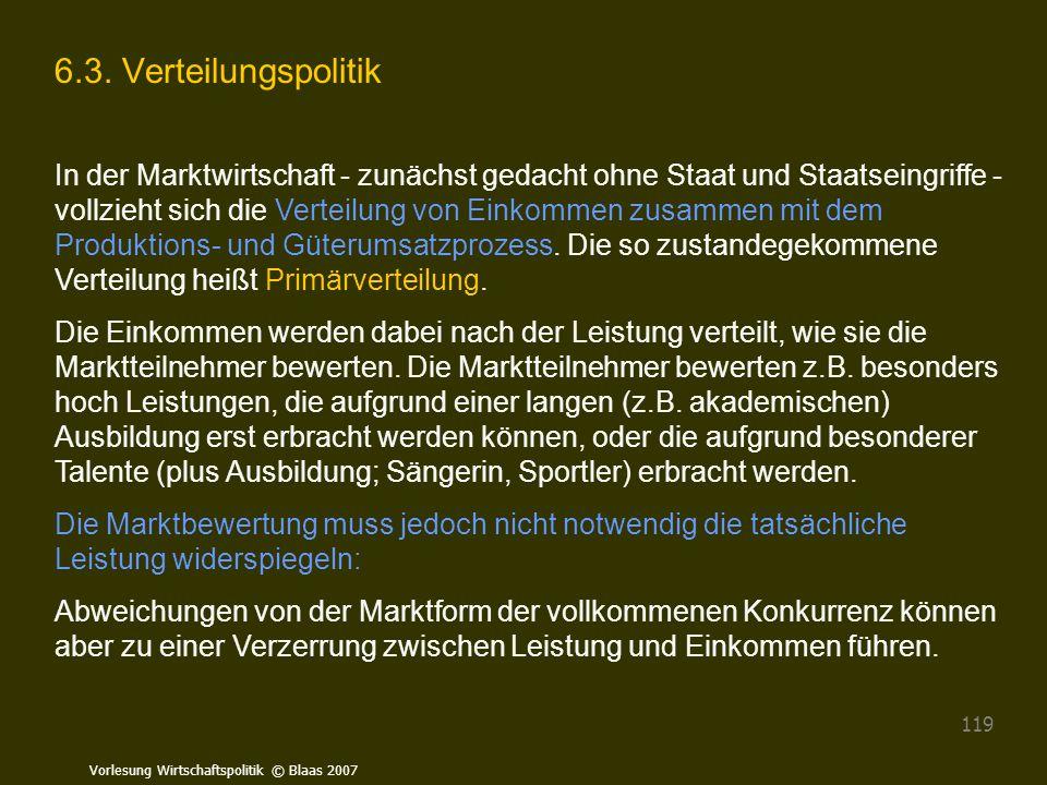 Vorlesung Wirtschaftspolitik © Blaas 2007 119 6.3. Verteilungspolitik In der Marktwirtschaft - zunächst gedacht ohne Staat und Staatseingriffe - vollz