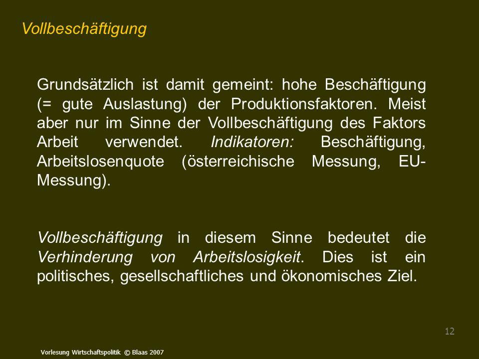 Vorlesung Wirtschaftspolitik © Blaas 2007 12 Vollbeschäftigung Grundsätzlich ist damit gemeint: hohe Beschäftigung (= gute Auslastung) der Produktions