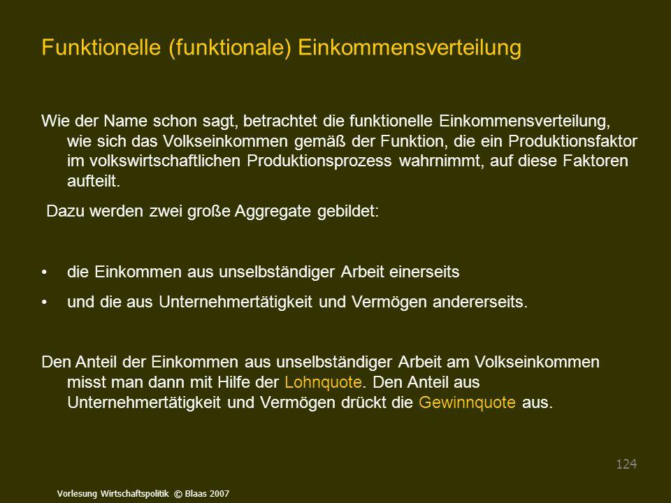 Vorlesung Wirtschaftspolitik © Blaas 2007 124 Funktionelle (funktionale) Einkommensverteilung Wie der Name schon sagt, betrachtet die funktionelle Ein