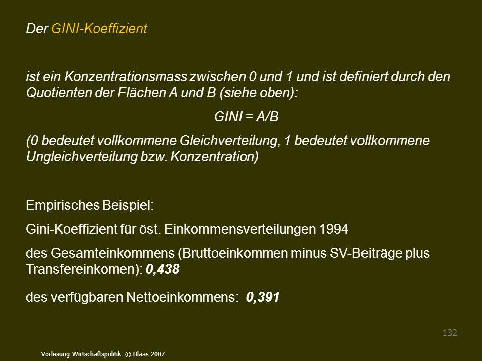Vorlesung Wirtschaftspolitik © Blaas 2007 132 Der GINI-Koeffizient ist ein Konzentrationsmass zwischen 0 und 1 und ist definiert durch den Quotienten