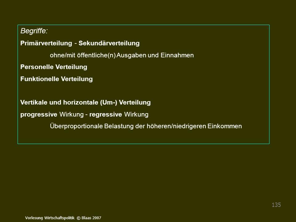 Vorlesung Wirtschaftspolitik © Blaas 2007 135 Begriffe: Primärverteilung - Sekundärverteilung ohne/mit öffentliche(n) Ausgaben und Einnahmen Personell
