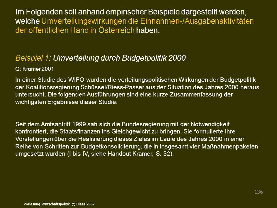 Vorlesung Wirtschaftspolitik © Blaas 2007 136 Im Folgenden soll anhand empirischer Beispiele dargestellt werden, welche Umverteilungswirkungen die Ein
