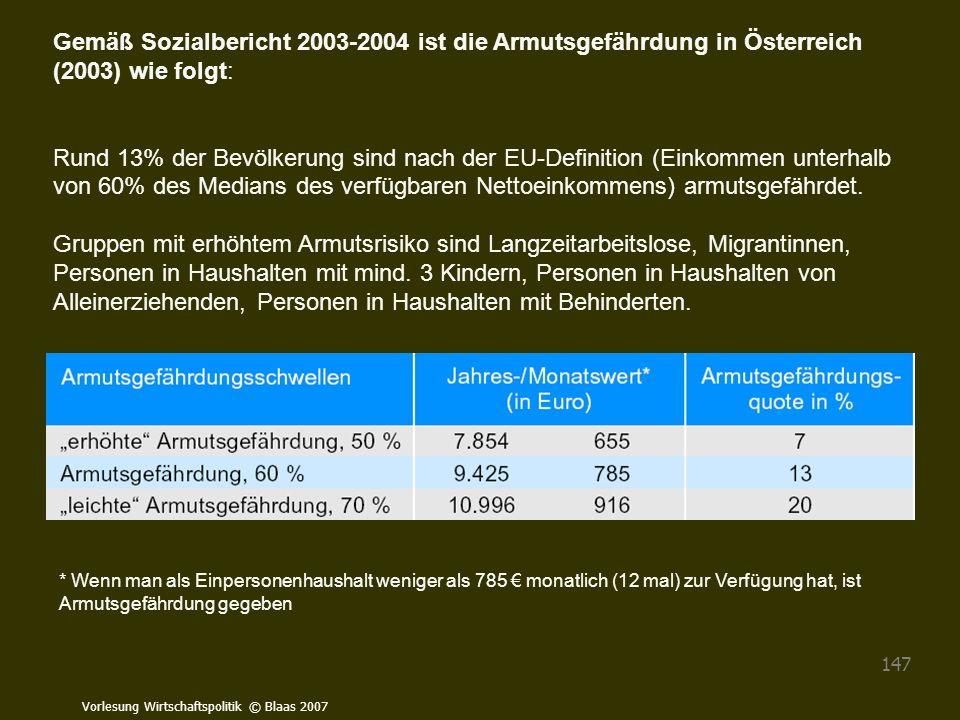 Vorlesung Wirtschaftspolitik © Blaas 2007 147 Gemäß Sozialbericht 2003-2004 ist die Armutsgefährdung in Österreich (2003) wie folgt: Rund 13% der Bevö