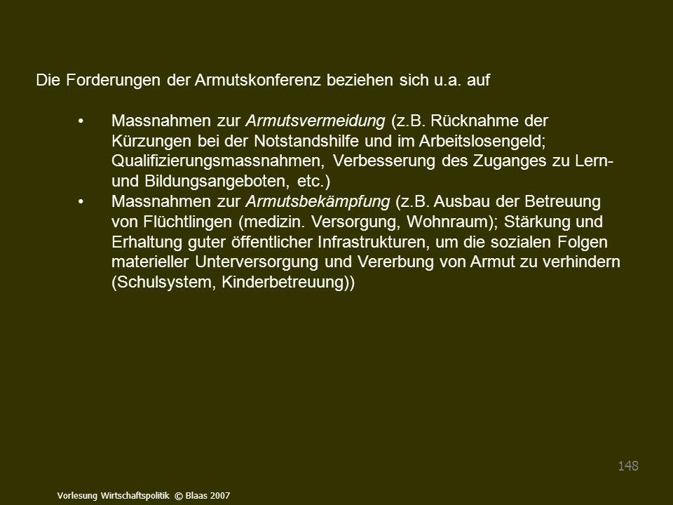 Vorlesung Wirtschaftspolitik © Blaas 2007 148 Die Forderungen der Armutskonferenz beziehen sich u.a. auf Massnahmen zur Armutsvermeidung (z.B. Rücknah