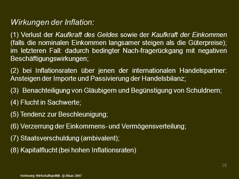 Vorlesung Wirtschaftspolitik © Blaas 2007 16 Wirkungen der Inflation: (1) Verlust der Kaufkraft des Geldes sowie der Kaufkraft der Einkommen (falls di