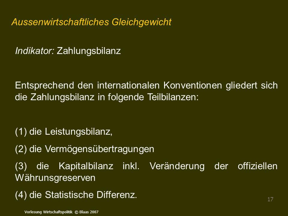 Vorlesung Wirtschaftspolitik © Blaas 2007 17 Aussenwirtschaftliches Gleichgewicht Indikator: Zahlungsbilanz Entsprechend den internationalen Konventio