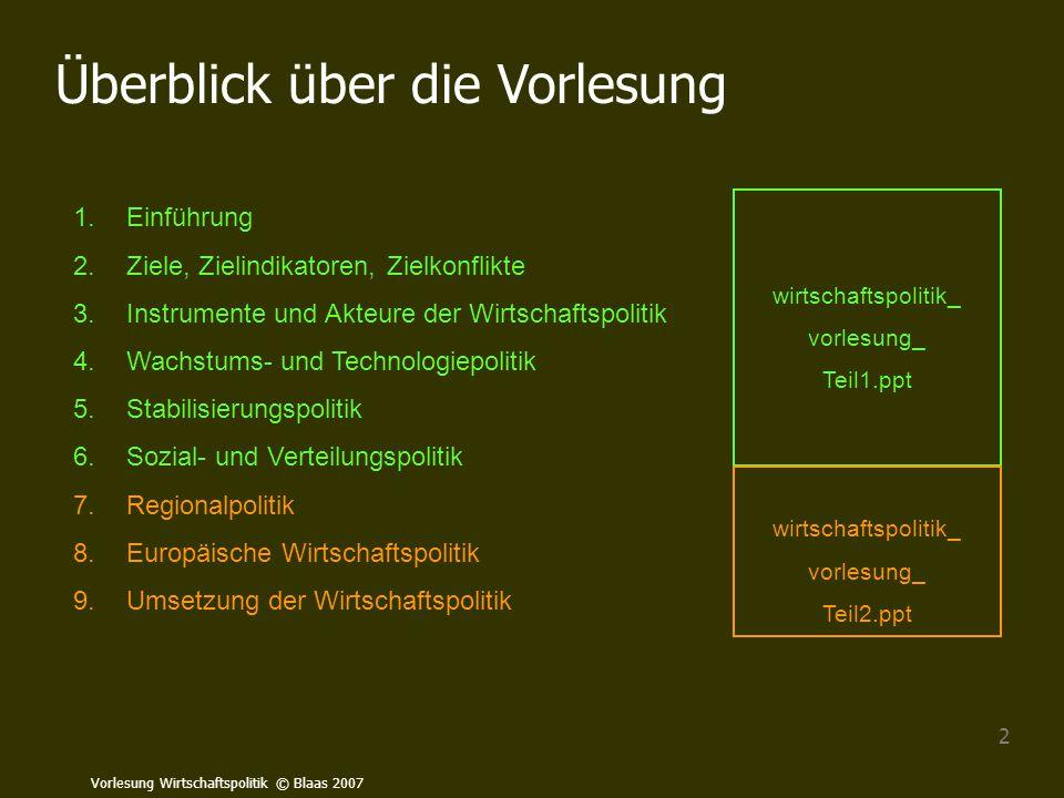 Vorlesung Wirtschaftspolitik © Blaas 2007 63 Exkurs: Multiplikatorwirkungen in einer offenen Volkswirtschaft: Q: Stiglitz 1999, S.