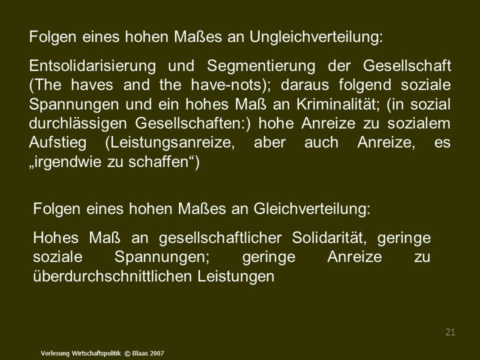 Vorlesung Wirtschaftspolitik © Blaas 2007 21 Folgen eines hohen Maßes an Ungleichverteilung: Entsolidarisierung und Segmentierung der Gesellschaft (Th