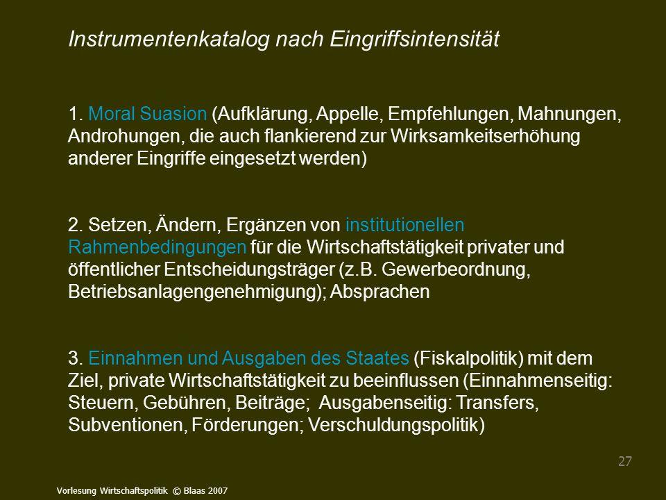 Vorlesung Wirtschaftspolitik © Blaas 2007 27 Instrumentenkatalog nach Eingriffsintensität 1. Moral Suasion (Aufklärung, Appelle, Empfehlungen, Mahnung