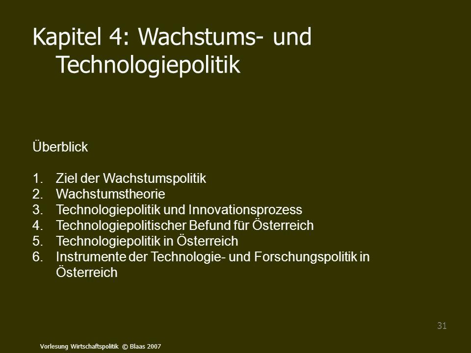 Vorlesung Wirtschaftspolitik © Blaas 2007 31 Kapitel 4: Wachstums- und Technologiepolitik Überblick 1.Ziel der Wachstumspolitik 2.Wachstumstheorie 3.T