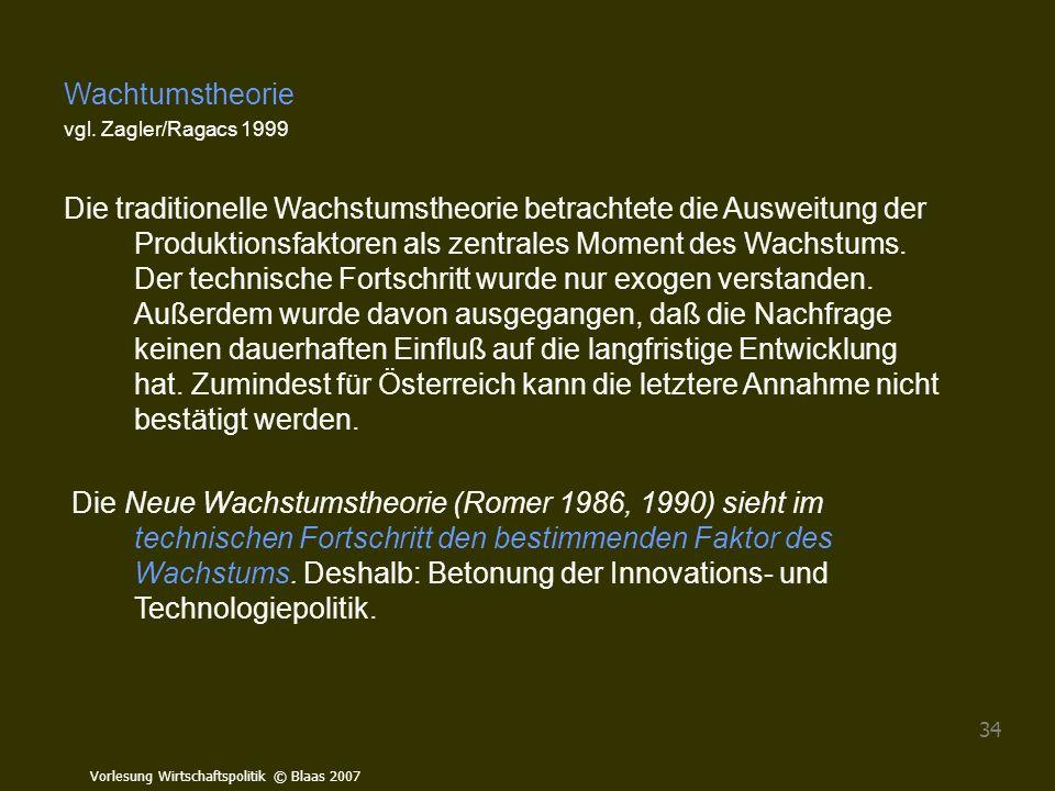 Vorlesung Wirtschaftspolitik © Blaas 2007 34 Wachtumstheorie vgl. Zagler/Ragacs 1999 Die traditionelle Wachstumstheorie betrachtete die Ausweitung der