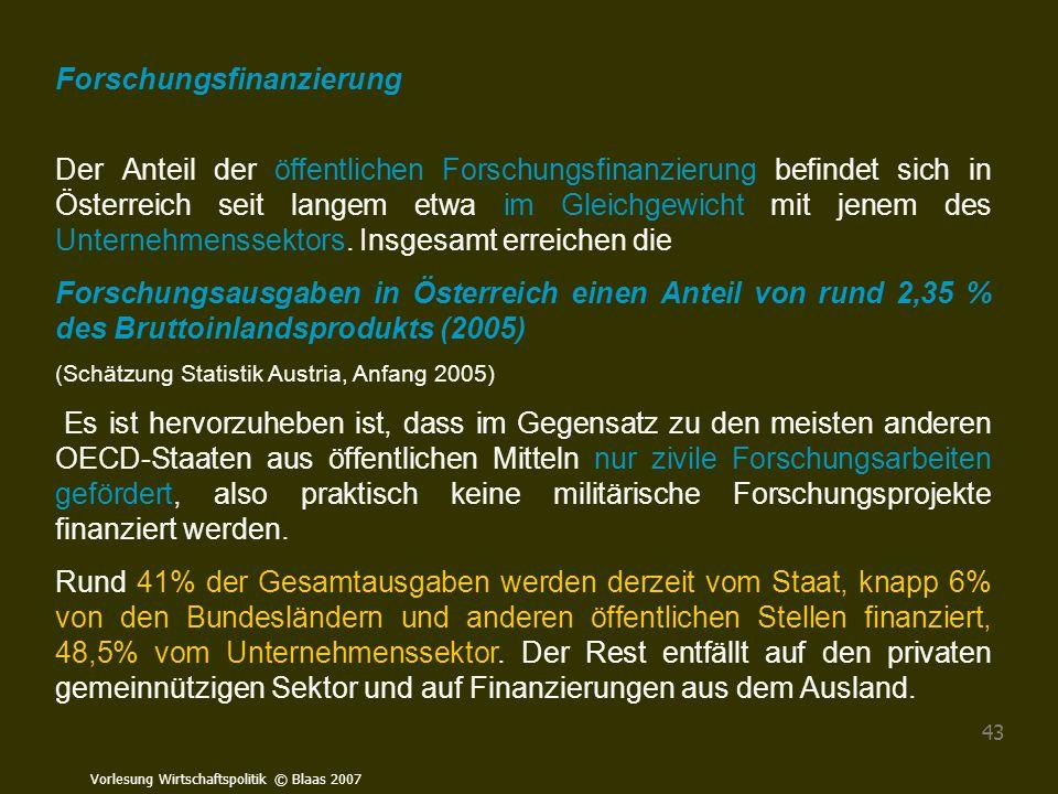 Vorlesung Wirtschaftspolitik © Blaas 2007 43 Forschungsfinanzierung Der Anteil der öffentlichen Forschungsfinanzierung befindet sich in Österreich sei